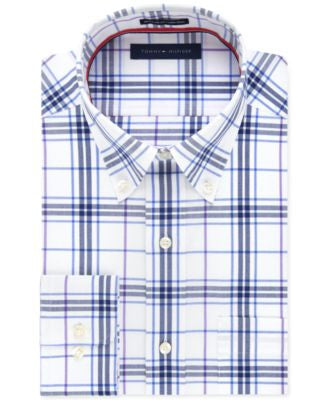 Tommy Hilfiger Men's Non-Iron Blue Pearl Exploded-Plaid Dress Shirt
