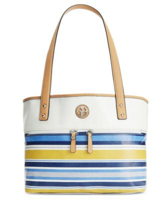 Giani Bernini Coated Canvas Multi Stripe Tote, Only at Vogily