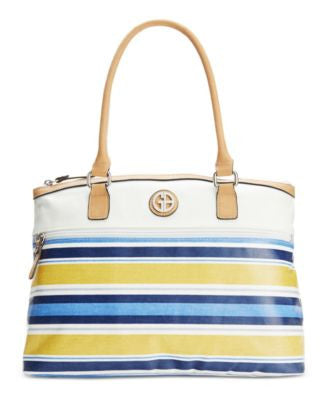 Giani Bernini Coated Canvas Multi Stripe Dome Satchel, Only at Vogily