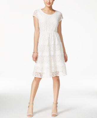 NY Collection Lace Cap-Sleeve Fit & Flare Dress, Only at Vogily