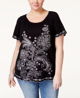 Karen Scott Plus Size Embroidered Peasant Top, Only at Vogily