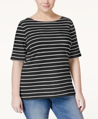 Karen Scott Plus Size Striped Boat-Neck Top, Only at Vogily
