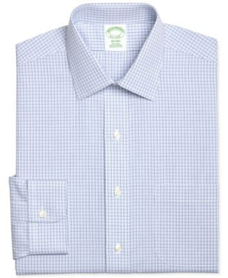Brooks Brothers Men's Milano Extra Slim-Fit Non-Iron Light Blue Plaid Dress Shirt