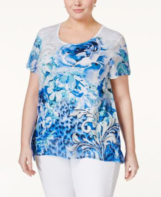 JM Collection Plus Size Printed Flutter-Sleeve Blouse, Only at Vogily