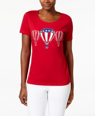 Karen Scott Petite Hot Air Balloon Graphic T-Shirt, Only at Vogily