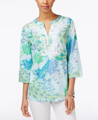 Charter Club Paisley-Print Embroidered Tunic, Only at Vogily