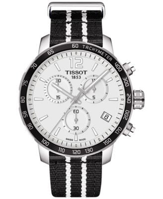 Tissot Unisex Swiss Chronograph San Antonio Spurs Quickster Black and White Strap Watch 42mm T095417