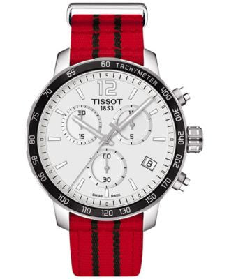 Tissot Unisex Swiss Chronograph Chicago Bulls Quickster Red and Black Strap Watch 42mm T095417170370