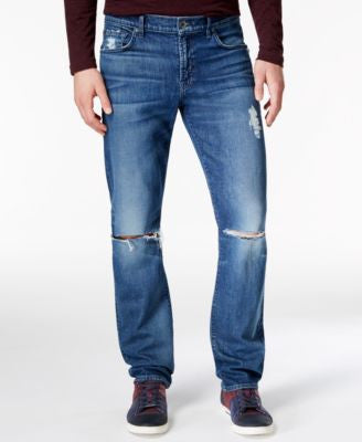 7 For All Mankind Men's Slimmy Slim-Straight Destroyed Bandit Jeans