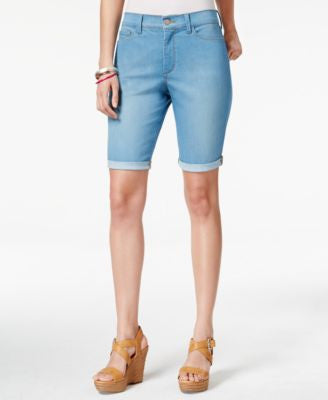 NYDJ Petite Briella Palm Bay Wash Denim Shorts