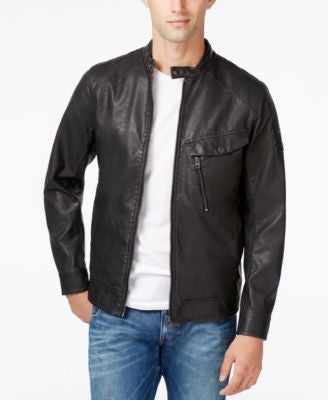 GStar Men's Faux Leather Bomber Jacket