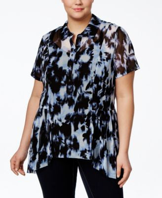 INC International Concepts Plus Size Tie-Dyed Peplum Blouse, Only at Vogily