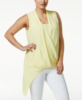 Alfani Plus Size Asymmetric-Hem Surplice Top, Only at Vogily