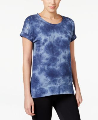 Style & Co. Tie-Dyed Short-Sleeve Pullover Sweatshirt, Only at Vogily