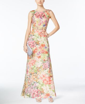 Tahari ASL Printed Sequined Gown