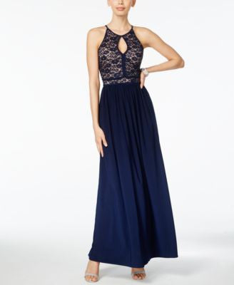 Nightway Petite Lace Keyhole Halter Gown