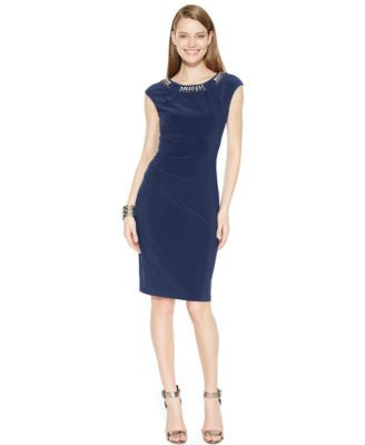 Vince Camuto Beaded-Collar Sheath Dress