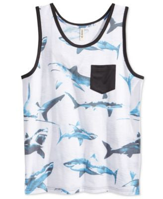 Univibe Men's Sharkie Graphic-Print Pocket Tank
