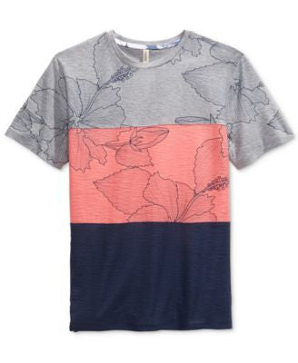 Univibe Men's Garcia Pieced Colorblocked Floral-Print T-Shirt