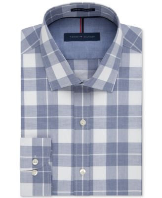 Tommy Hilfiger Men's Slim-Fit Non-Iron Blue Velvet Plaid Dress Shirt