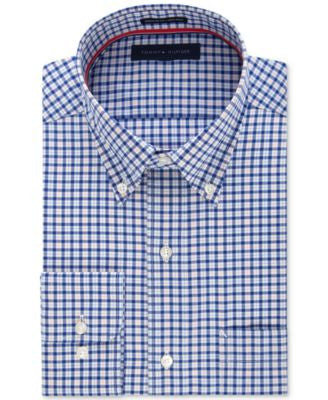 Tommy Hilfiger Men's Classic-Fit Non-Iron Blue Check Dress Shirt