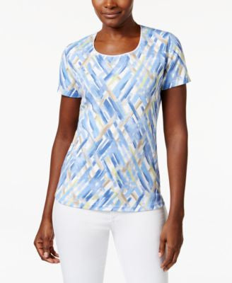Karen Scott Printed Scoop-Neck Tee, Only at Vogily