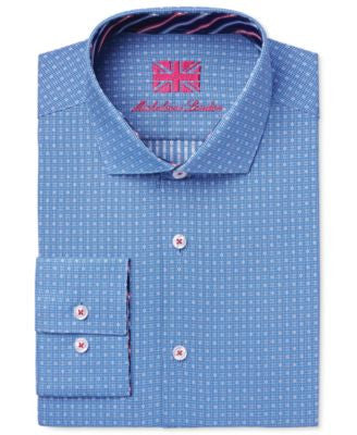 Michelsons of London Men's Slim-Fit Blue Dobby Check Dress Shirt