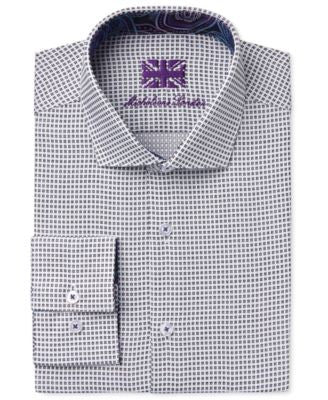 Michelsons of London Men's Slim-Fit Black Dobby Check Dress Shirt