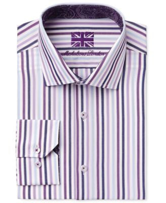 Michelsons of London Men's Slim-Fit Navy Stripe Dress Shirt