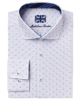 Michelsons of London Men's Slim-Fit Light Blue Stripe Dot Dress Shirt