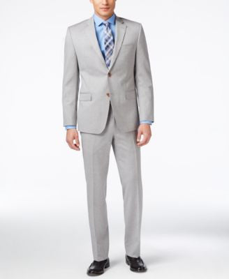 Lauren Ralph Lauren Men's Light Gray Sharkskin Slim-Fit Suit