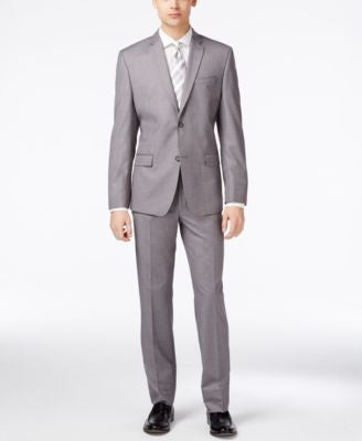 Marc New York by Andrew Marc Men's Light Gray Sharkskin Slim-Fit Suit