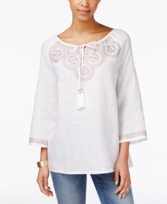 Charter Club Embroidered Three-Quarter-Sleeve Top, Only at Vogily