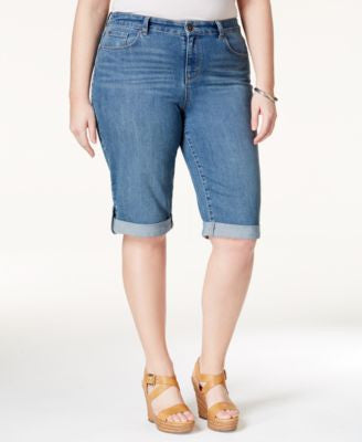 Style&co. Plus Size Shorts, Ex-Boyfriend Bermuda Denim, Sea Glass Wash