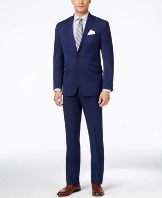 Kenneth Cole Reaction Men's Bright Blue Sharkskin Slim-Fit Suit