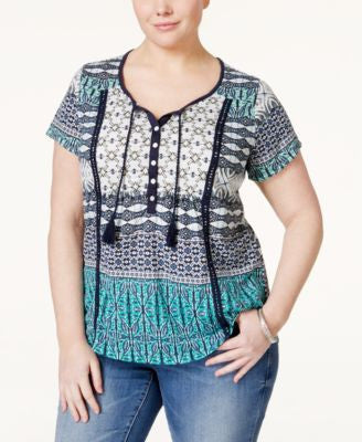 Style & Co. Plus Size Printed Peasant Top, Only at Vogily