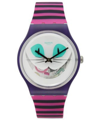Swatch Unisex Swiss Es War Einmal Pink and Purple Stripe Silicone Strap Watch 41mm SUOW125