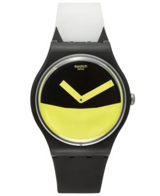 Swatch Unisex Swiss Es War Einmal Black and White Silicone Strap Watch 41mm SUOB130