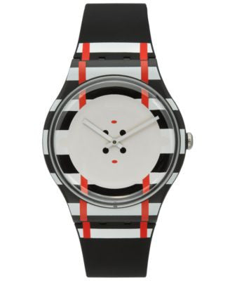 Swatch Unisex Swiss Es War Einmal Black Silicone Strap Watch 41mm SUOB129