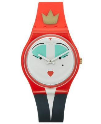 Swatch Unisex Swiss Es War Einmal Red and Blue Silicone Strap Watch 34mm GR165