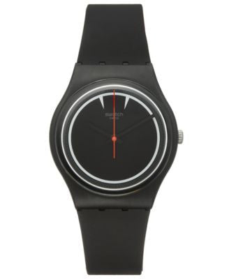 Swatch Unisex Swiss Es War Einmal Black Silicone Strap Watch 34mm GB294
