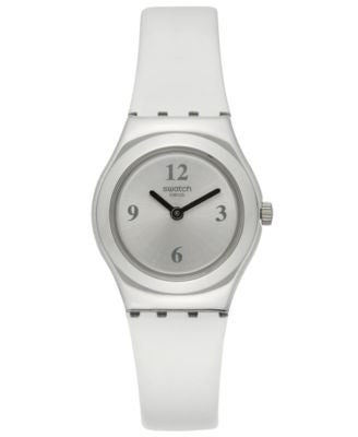 Swatch Women's Swiss Power Tracking White Leather Strap Watch 25mm YSS296