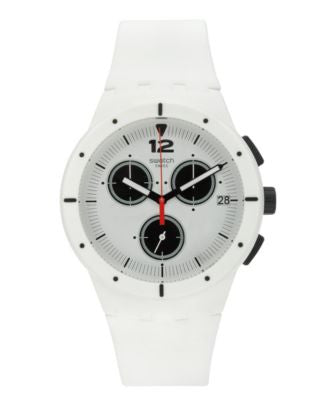 Swatch Unisex Swiss Power Tracking White Silicone Strap Watch 42mm SUSW406