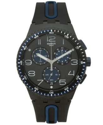 Swatch Unisex Swiss Chronograph Power Tracking Black and Blue Silicone Strap Watch 42mm SUSB406
