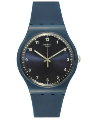 Swatch Unisex Swiss Power Tracking Dark Blue Silicone Strap Watch 41mm SUON116