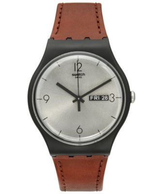 Swatch Unisex Swiss Power Tracking Brown Leather Strap Watch 41mm SUOB721