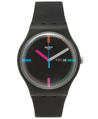 Swatch Unisex Swiss Power Tracking Black Silicone Strap Watch 41mm SUOB719