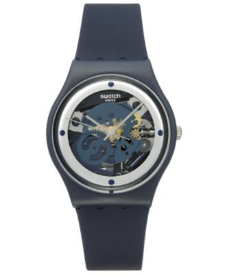 Swatch Unisex Swiss Power Tracking Dark Blue Silicone Strap Watch 34mm GN245