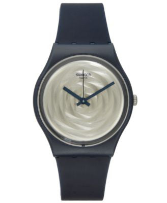 Swatch Unisex Swiss Power Tracking Dark Blue Silicone Strap Watch 34mm GN244
