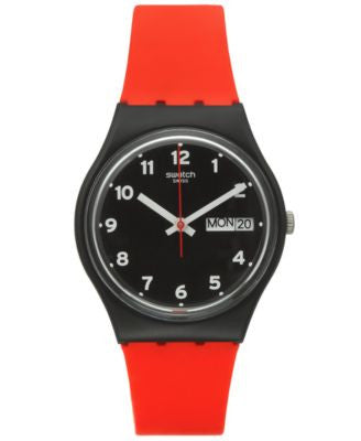 Swatch Unisex Swiss Power Tracking Red Silicone Strap Watch 34mm GB754